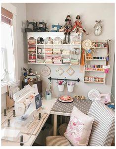 Sewing Room Design, Sewing Room Decor, Craft Room Design, Sewing Spaces, My Sewing Room, Sewing Rooms, Sewing Studio, Craft Desk, Craft Room Storage