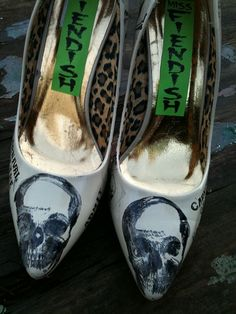 Carnival Of The Walking Dead Skull Shoes by MissFiendishApparel, £25.00, yep, i'd wear these to my wedding hah