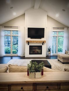 "Shiplap fireplace with handmade 8"" x 8"" wood beam mantle. Fireplace Remodel, Wood Mantle Fireplace, Farmhouse Fireplace, Living Room Design Inspiration, Modern Farmhouse Living Room, Custom Home Plans, New Homes, Fireplace Between Windows, Shiplap Fireplace"