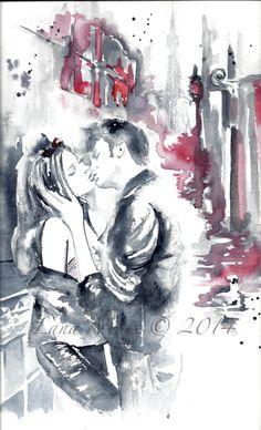 Paris at Night Watercolor Illustration - Travel Paris Love, Kiss, Romance - Watercolor Original Painting
