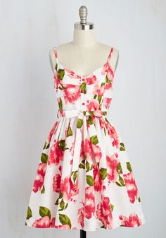 Just Journaling Dress - Multi, White, Floral, Print, Pockets, Daytime Party, Fit & Flare, Sleeveless, Spring, Woven, Better, Mid-length