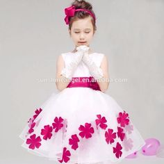 Wholesale Best Selling 5 Colors Applique Belt Chiffon Flower Baby Girl Dress Patterns
