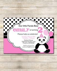 Panda Birthday Party Invitation -- sarah O chic -- pink, black and white polka dots, little birthday panda. $12.00, via Etsy.