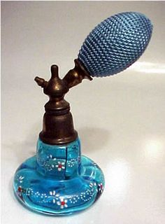 Beautiful Antique Bohemian Czechoslovakia Perfume Atomizer. Blue glass with hand painted flowers