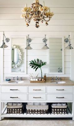 Chic Modern Tropical Decor for a Harbor Island Home in the Bahamas - Coastal Decor Ideas and Interior Design Inspiration Images Coastal Bathroom Decor, Beach House Bathroom, Nautical Bathrooms, Beach Bathrooms, Bathroom Photos, Chic Bathrooms, Beach House Decor, Coastal Decor, Small Bathroom