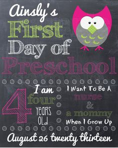 First Day of School Sign  Printable 8x10 First by punkydoodlekids, $8.00. Back to school chalkboard sign.