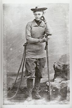 Annie Smith Peck {1850 - 1935} was a popular figure as a climber, explorer and suffragist. Peck climbed Matterhorn in 1895 (at the age of 45), which brought her instant fame – not because of her climb, but because of what she wore to scale the peak: a pair of pants (instead of a long skirt).