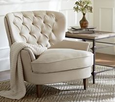 Cardiff Tufted Armchair from Pottery Barn. Shop more products from Pottery Barn on Wanelo. Accent Chairs For Living Room, Formal Living Rooms, Living Room Furniture, Home Furniture, Living Room Decor, Deco Furniture, Plywood Furniture, Furniture Stores, Furniture Design