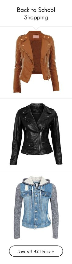 """""""Back to School Shopping"""" by cloemay ❤ liked on Polyvore featuring outerwear, jackets, casacos, leather jacket, coats, zipper jacket, cropped biker jacket, gold cropped jacket, fake leather jacket and faux leather jacket"""