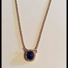 Authentic Kate Spade Park & Lex Necklace NWT Authentic Kate Spade New York Blue Lapis Mini Park Row Crystal Necklace,... Style #WBRUA515 park and lex collection features semi-precious stones surrounded by pave crystals set in gold-plated metal, 12-karat gold plated metal with semiprecious stone and pave crystal with lobster claw closure. New With Tags & Dustbag     No Trades No Holds  kate spade Jewelry Necklaces
