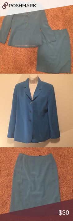 "Teal blue blazer and pencil skirt set size 10 Women's kasper teal blue button down blazer and pencil skirt matching set:  Size 10 Blazer: bust 40"" length 26.5"" Lined 100% Polyester  Pencil skirt: waist 29"" length 26"". Zip up behind, 9"" slit Lined 100% Polyester  * preloved* in good condition Skirts Skirt Sets"