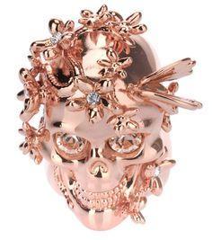 NewAuth Alexander McQueen Skull Floral butterfly Ring Swarovski SZ 6.5  Unisex