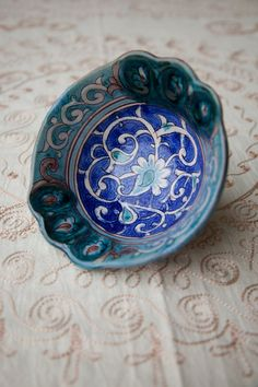 Decorative hand painted blue bowl by Ikatland on Etsy, $59.99 Blue Bowl, Serving Bowls, Arts And Crafts, Crafting, Hand Painted, Ceramics, Tableware, Painting, Etsy
