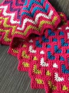 Baby Blanket, Custom colour baby blanket, Chevron stripe, Hearts, Reversible, Crochet baby blanket, Baby afghan blanket.. $80.00, via Etsy.