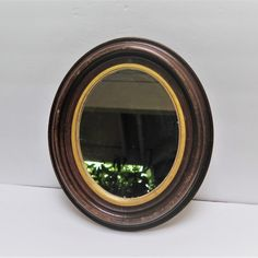 Antique Oval Wood Framed Mirror 12 x 14 Dark by WendysVintageShop