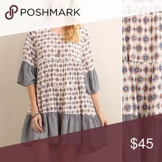 White & Blue Geometric Peasant Dress Brand new. Peasant dress boasting bell sleeves and a breathable fit for bohemian - inspired charm. 100% rayon. **Will add more pictures and measurement info ** Tassels n Lace Dresses Midi