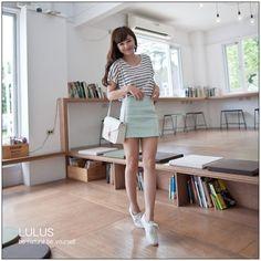 striped tee + skirt