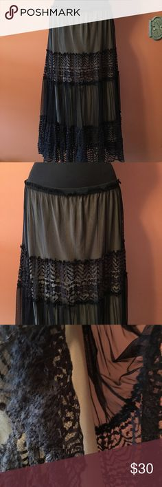"""🎉🎉💋Max Studio Black Lace Tiered Maxi Skirt Max Studio Tiered Lace Skirt, the black lace overlay has a tan/taupe slip, length is 32"""", size Large, in good condition Max Studio Skirts Maxi"""