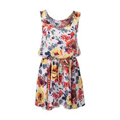 Floral Print Drawstring Detailed Dress (3.180 RUB) ❤ liked on Polyvore featuring dresses, vestidos, floral, haljine, floral sleeveless dress, sleeveless dress, sleeveless shift dress, flower print dress and floral circle skirt