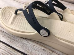 1cafd54e2aa7 CROCS Sandals Flip Flop Thong with slight wedge heel 7 White Navy Blue Shoes