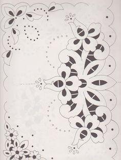 Lene Richelieu e Bainha Aberta Wedding Embroidery, Cutwork Embroidery, Arabesque Design, Design Page, Stencil Fabric, Lace Painting, Whole Cloth Quilts, Lace Patterns, Machine Embroidery Patterns