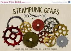 70% OFF SALE Gears Clipart Steampunk by ScubamouseStudiosJr