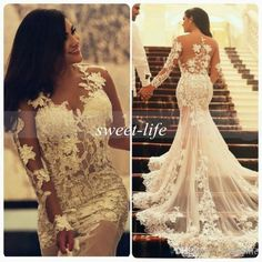 2015 Sexy Mermaid Lace Wedding Dresses with Long Sleeves Tulle See Through Sheer Plus Size Vintage Wedding Party Evening Bridal Gowns Arabic Online with $145.14/Piece on Sweet-life's Store | DHgate.com