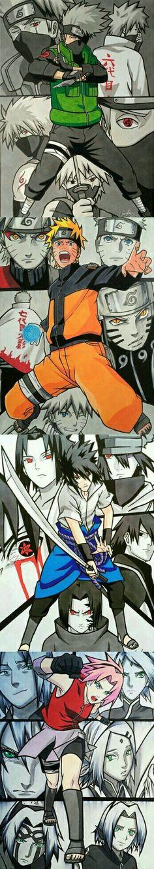 Hatake Kakashi, Uzumaki Naruto, Uchiha Sasuke, Haruno Sakura; Team 7