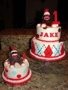 Sock Monkey First Birthday Cake Cake Ideas Pinterest Birthdays