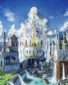 Ideas For Fantasy Landscape Art Castles Atlantis Fantasy City, Fantasy Castle, 3d Fantasy, Fantasy Places, Fantasy Setting, Fantasy Kunst, Fantasy World, Fantasy Art Landscapes, Fantasy Landscape