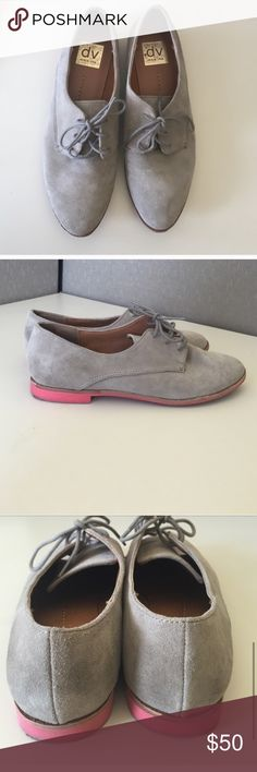 Grey dolce vita oxfords with a pink sole! Great for Fall, great for current men's wear trends. Super cute grey suede dolce vita oxfords with pink sole.   If it is listed it is available No trades No PayPal Dolce Vita Shoes