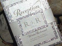 Glitter Wedding Invitation - Glitter Bridal Shower Invitations, Engagement Announcement, Wedding Invitations, Gold, Silver, Black Invite