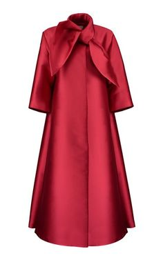 This **Merchant Archive** neck tie coat features a satin finish and flared silhouette. 2000s Fashion, Dope Fashion, Iranian Women Fashion, African Fashion, Abaya Fashion, Fashion Dresses, Satin Coat, Red Satin, Red Flare