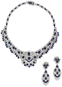 A suite of diamond and sapphire jewelry #christiesjewels #necklace #earrings
