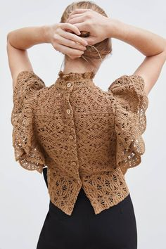 Sleeveless knit top with a high neck. Featuring a crochet fabric detail, matching ruffle trims and button fastening at the back. HEIGHT OF MODEL: 177 CM / Frilly Dresses, Crochet Fashion, Crochet Clothes, Blouse Designs, Crochet Top, Ideias Fashion, Knitwear, Fashion Dresses, Womens Fashion