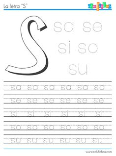 Descarga esta hoja de trabajo de las sílabas con S. Hojas de ejercicios de las letras consonantes. Abecedario de sílabas. Cuadernillos educativos gratis.