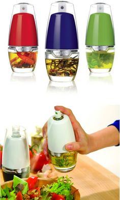 Kitchen Gadgets You Didn't Know Existed - love this oil mister you can add herbs too! Cool tip/ Great Idea/ Want this now/ Cool tool/ Kitchen and Bedroom Gadgets/ Cool Tech Idea Cool Kitchen Gadgets, Kitchen Items, Kitchen Utensils, Kitchen Hacks, Kitchen Appliances, Kitchen Products, Top Gadgets, Kitchen Stuff, Cooking Utensils