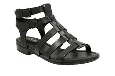81fc0570b153 Viveca Myth Black Leather - Clarks® Sandals for Women - Clarks® Shoes