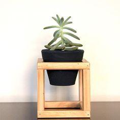 ACHEI na loja CASAQUETEM - Suporte de madeira + vaso de cerâmica Nº1