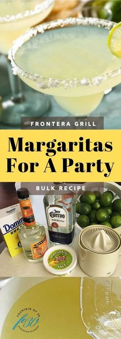 You can easily find many versions of the Fonterra Margarita recipe, but not to make enough for a crowd. I put together this recipe based on what their bartender told us decades ago. #drinks #recipes #parties #cincodemayo #cocktails Easy Cocktails, Cocktail Drinks, Cocktail Recipes, Frozen Drink Recipes, Frozen Drinks, Party Like Its 1999, Mix Drinks, Bulk Food, Thing 1