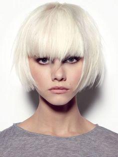 short blunt cut / white blonde / cool hued blonde / bangs