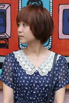 sweet layered short korean hairstyle  side view of cute