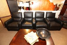 Black Leather Theater Seating - Colleen's Classic Consignment, Las Vegas, NV - www.colleenconsign.com