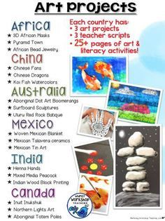 Art Around the World has EASY lessons for busy teachers. The secret: integration! These fun lessons have teacher scripts to read aloud about each country and customs, step-by-step photo instructions, and a simple supply list. Middle School Art, Art School, College School, High School, Public School, Arte Elemental, Aboriginal Dot Art, Classe D'art, Elementary Art