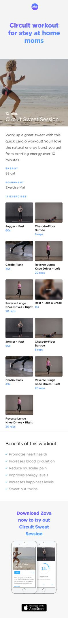 Take advantage of a sleeping baby with this super short but effective at-home circuit workout designed for moms. Take a timeout for your health, clear a spot in the lounge room and enjoy this easy and doable workout. You'll raise your heart rate, work your core and define your waist. #weightloss #workout #fitness #HIIT #fullbody #sweat #bodyweight #calories #athome #mom