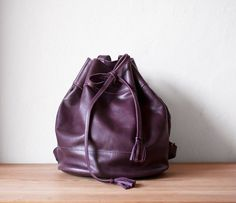 Drawstring Backpack in Purple by morelle