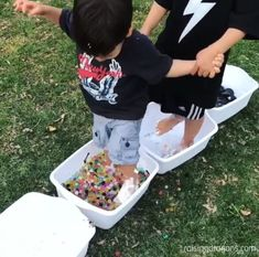 Sensory Walk  ages 1+  Sensory walks are so much fun! We have done several and my boys have such a blast every time I set one up! Materials needed (referral links): 8 large bins (we found these at Target) Water beads Flour River Rocks Bubble wrap Shaving cream Food coloring Sticks Water Towel …