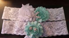 Mint and White Starfish Garter Set, Beach Wedding, Starfish Wedding Garter by BijouxBridalChicago on Etsy
