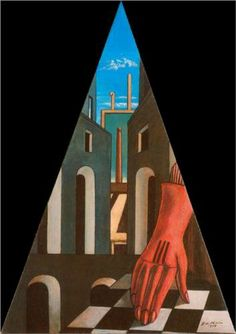 Surrealism: This was a literary and art movement that began in 1920 where artists painted art that spoke to the subconscious imagination. This particular image is the Metaphysical Triangle, Giorgio de Chirico oil painting. Magritte, Oil Canvas, Psy Art, Modigliani, Spanish Artists, Painting Gallery, Traditional Paintings, Art Moderne, Italian Artist