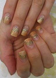 gold tips with gold glitter new years eve nail art